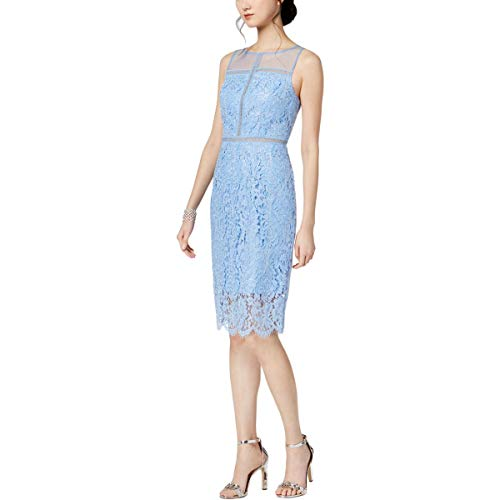 - Adrianna Papell Women's Metallic Corded Lace Sheath Cocktail Dress, Echo Blue, 6