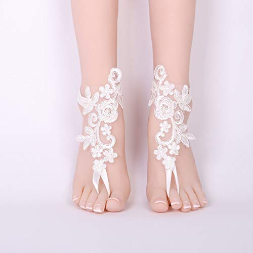 Liobaba Sexy Wedding Lace Barefoot Sandals Beach Wedding Anklet JS007 Sexy Jewelry