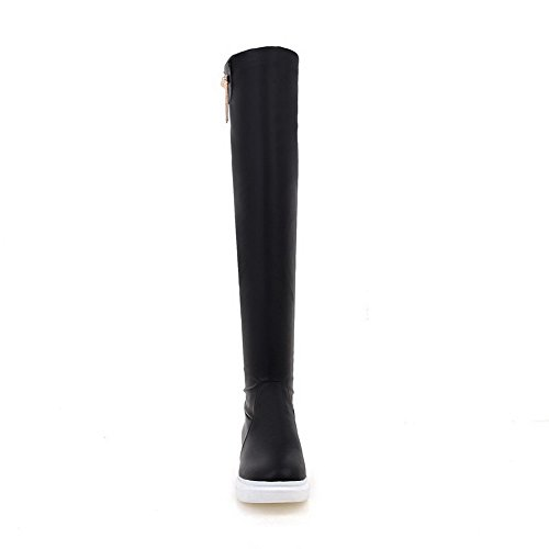 Solid Allhqfashion High Heels Pu Black Top Low Toe Boots Women's Closed Round 4xq4wpR8