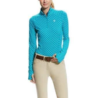 Ariat Women's Lowell 2.0 1/4 ZipShirt, Atomic Blue Running Horse, LG