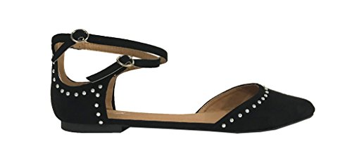 SWIRL-83X! Womens Pointed Dorsay Studded Ankle Strap Ballet Flats Black Faux Suede UoL11KOP