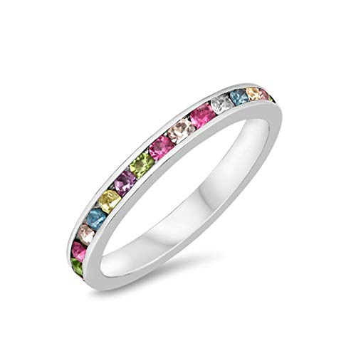 Blue Apple Co. 3mm Full Eternity Band Channel Setting Round Sterling Silver Simulated Multi-Color Cubic Zirconia 925 Sterling Silver Size-9