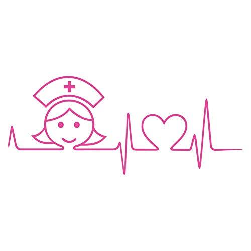 Nurse Heartbeat Magenta Vinyl Decal Sticker for 13