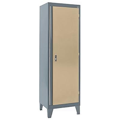 "Sandusky Lee GF3F241872-042L Modular System Storage Cabinet, Single Door, 24"" Width x 18"" Diameter x 79"" Height, Charcoal/Tropic Sand"