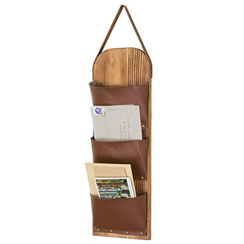 MyGift 3-Slot Rustic Wall-Mounted Wood & Leatherette Mail Sorter