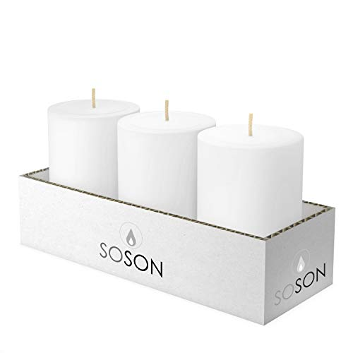 Simple Soson Unscented White Pillar Candle Bulk Set 3X4 inch - Pillar Tall Dripless Candles, Perfect Wedding Candles, Party Candles- Long Burn Candles Set. Home Decor Pack of 3