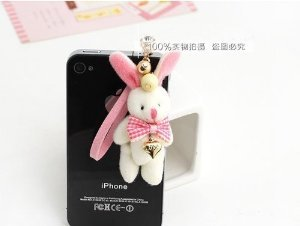 Brandbuy(TM) Earphone Jack Accessory Love Heart Cute Rabbit Pink Bow Cell Charms Dust Plug Ear Jack For Audio Headphone / Iphone 4 4S 5S 5C 6 / Samsung Galaxy S2 S3 S4 S5 Note I9220 / HTC / Sony / Nokia / Motorola / LG / Lenovo / iPad / iPod Touch / Other 3.5mm Ear Jack