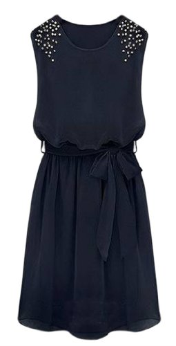 AM CLOTHES Womens Sleevess Round Neck Middle-rise Dress (LARGE, A-Blue)