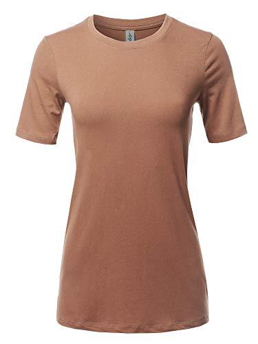 Basic Solid Premium Cotton Short Sleeve Crew Neck T Shirt Tee Tops Egg Shell - Tee Egg