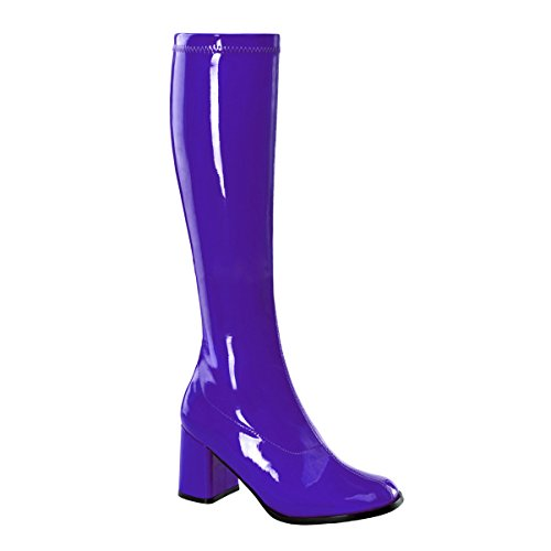 Womens Purple Knee High Boots 3 Inch Heels GoGo Boots Stretch Costumes Shoes Size: 8