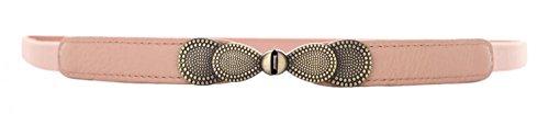 [Light Pink Women Metal Vintage Skinny Leather Belt Elastic Bow Belt Solid Color] (Pink Leather Belt Strap)