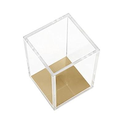 Acrylic Pencil and Pen Holder, HBlife Gold Desktop Stationery Organizer Modern Design Office Desk Accessory