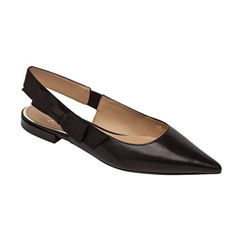 - Linea Paolo Darcy | Bow Adorned Pointy Toe Wide Slingback Leather Flat Black Leather/Grosgrain 6.5M
