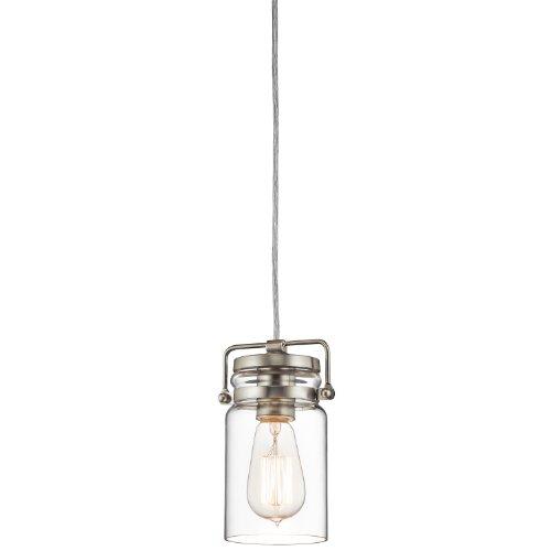 Kichler 42878NI Brinley 1-Light Mini Pendant in Brushed (Kichler Nickel Ceiling Light)