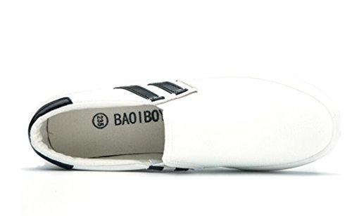 SHFANG Lady Shoes Classic Thick Bottom Pu Zapatos Casual Cómodo Movimiento Escuela Alumnos Compras Blanco Negro White