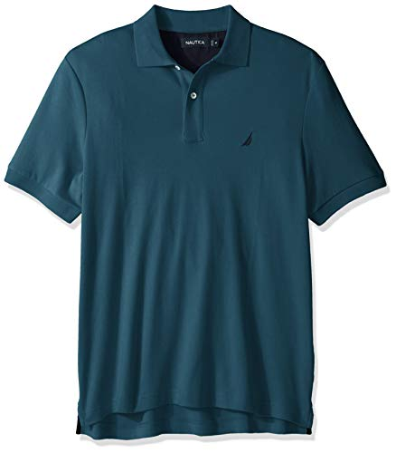 Nautica Men's Big and Tall Classic Fit Short Sleeve Solid Soft Cotton Polo Shirt, Cargo Blue, 1XLT Casual Cotton Polo Shirt