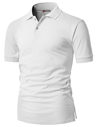 H2h Mens Modern Casual Regular Fit Short Sleeve Pique Polo Shirts Of Various Colors White Us S Asia M  Cmtts0201
