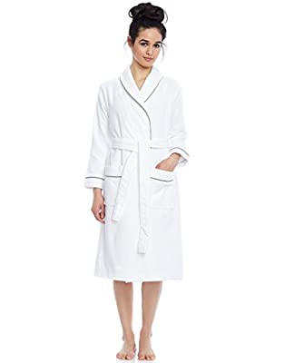 Short Women's Terry Cotton Bath Robe - Toweling with Belt - Raspberry- Be Relax