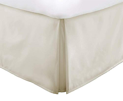 Vera Nice Bed Skirt with 15-inch Drop - Double Brushed Microfiber Pleated Dust Ruffle - King - Cream