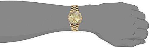 Jechin Men's Gold Watches Diamond Dial Analog Quartz Wrist Watch Gold-Tone Stainless Steel Bracelet (Gold)