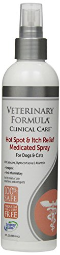 Veterinary Formula Clinical Care Hot Spot and Itch Relief Spray for Dogs and Cats - Medicated Topical Treatment for Skin Irritations and Hot Spots - Fast Acting, Heals and Soothes (8oz) (Flea Medicine For Cats With Sensitive Skin)