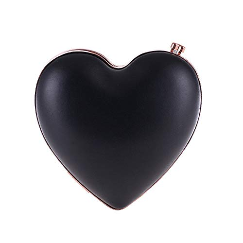 FZHLY Sac de soirée en forme de coeur pour femme Paquet d'embrayage en cuir synthétique de couleur unie Paquet de maquillage pour soirée amour Black