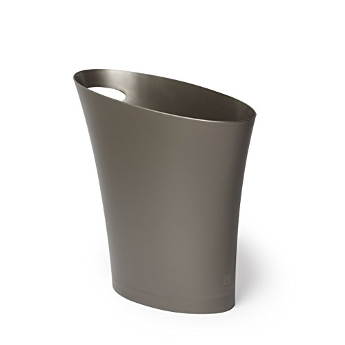Umbra Skinny Trash Can – Sleek & Stylish Bathroom Trash Can, Small Garbage Can Wastebasket for Narrow Spaces at Home or Office, 2 Gallon Capacity, Shadow Grey by Umbra