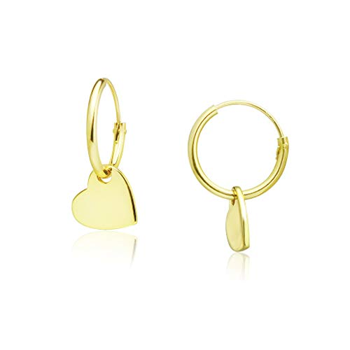 Big Apple Hoops - Genuine 925 Sterling Silver ''Basic and Simple'' Lightweight Heart Dangle Hoop Earrings | 3 High Polish Mirror Finishes (Silver, Yellow Gold, Rose Gold) ()