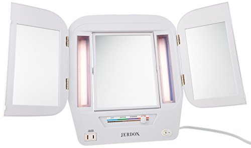 Jerdon Lighted Makeup Mirror with 5x Magnification, White Finish