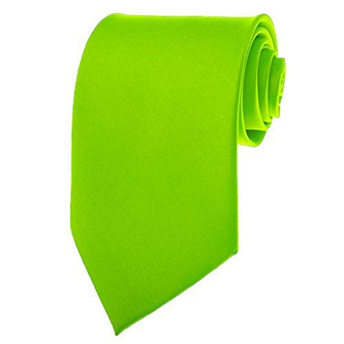 Lime Green Necktie SOLID Mens Neck Tie Satin ()