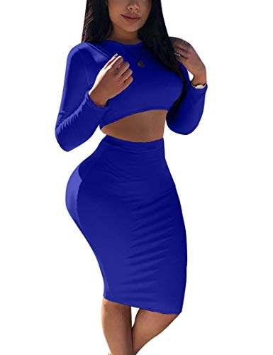 Mokoru Women's Sexy 2 Piece Outfits Crop Top Long Sleeve Bodycon Midi Club Dress, Medium, Royal Blue