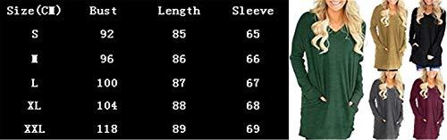 Shirts Moda Lunga Donna Manica Moda Camicia T Stile Ragazze Lunga V Casual Tasche Tops Rosa Neck Monocromo Primaverile Baggy Giovane Modern Eleganti con Tshirts Accogliente Camicetta atfBPqw