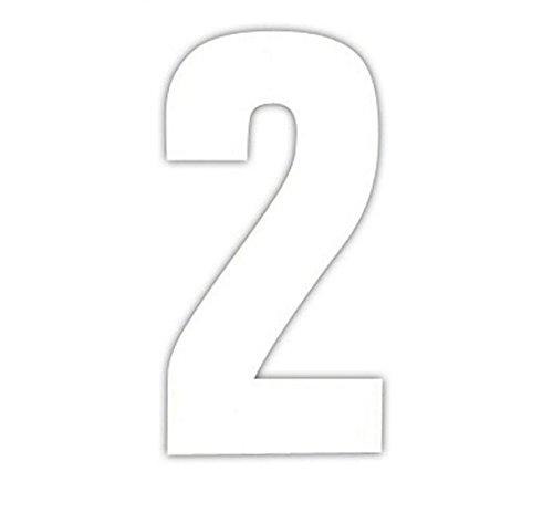Bulk Hardware BH04097 White Vinyl Stick On Wheelie Bin, Post Box, Window Numbers 75mm (3 inch) - Number 2 -Pack of 4