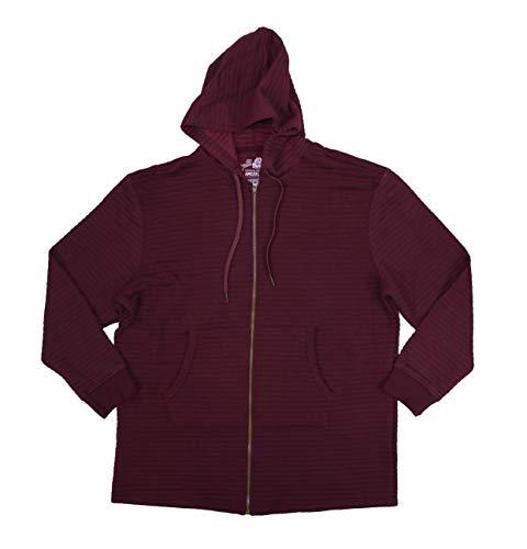 American Rag Men's Elongated Ribbed Full Zip Hoodie Jacket (Dark Scarlet, X-Large)