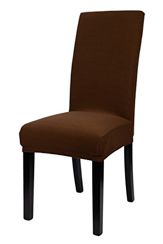 Homluxe Knit Stretch Dining Room Chair Slipcovers (2, Coffee Knit) (Dining Chair Covers Brown compare prices)
