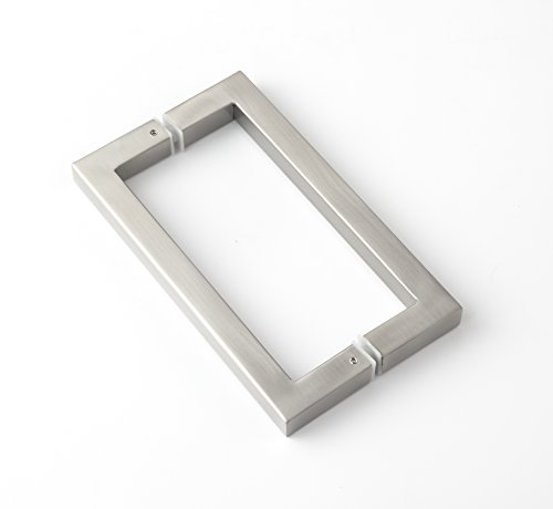Rembrandt - Square 12'' Modern & Contemporary Double Shower Pull Stainless Steel for Entrance/Entry/Shower/Glass/Shop/Store, Interior/Exterior Barn & Gates - Brushed Nickel by Rembrandt