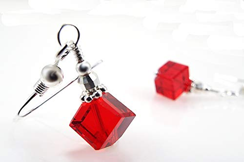 Red Cube Crystals by Swarovski Dangle Pierced Earrings with Sterling Silver Ear Wires ()
