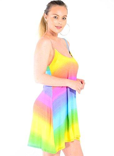 Janisramone Nouvelles Femmes Imprimées Évasées Strappy Longue Camisole Mini Robe Balançoire Gilet Caraco Arc