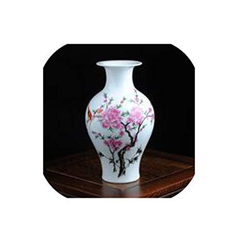TOUCH-U vases Mini Delicate Chinese Famille Rose Porcelain Flower Vase Birds and Flower for Home Decor,Light Grey
