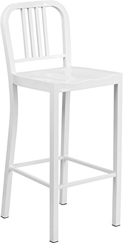 flash furniture high white metal barstool