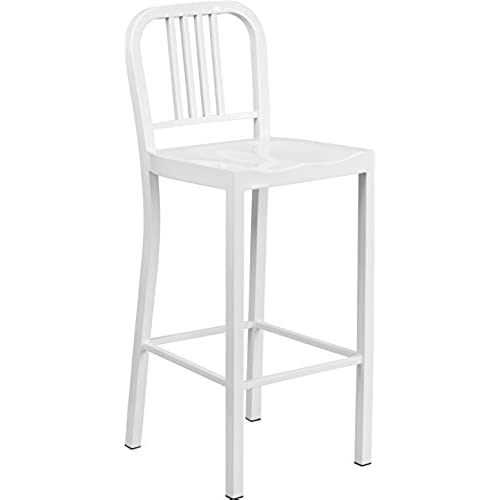 Flash Furniture 30u0027u0027 High White Metal Indoor Outdoor Barstool