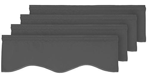 Deconovo Solid Scalloped Rod Pocket Blackou Valances Short Curtains for Windows 42x18 Inch Dark Grey 4 Drapes