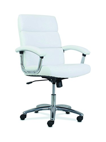 HON Traction High-Back Modern Executive Chair – Leather Computer Chair for Office Desk, White (HVL103)