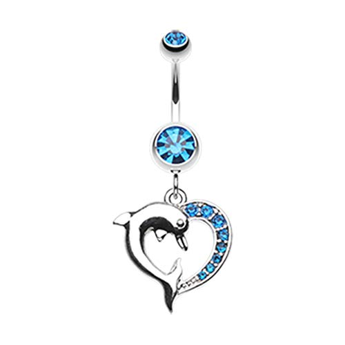 14 GA Enchanting Heart Dolphin Belly Button Ring 316L Surgical Stainless Steel Body Piercing Jewelry For Women and Men Davana Enterprises (Multiple Colors) (14GA Capri Blue)