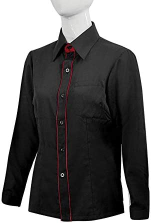 MISEMIYA - Camisa Trabajo Uniforme Camarera SEÑORA con Mangas LARGAS MESERO DEPENDIENTA Barman COCTELERA - Ref.XGN033 - XL, Negro-Burdeos: Amazon.es: Ropa y accesorios