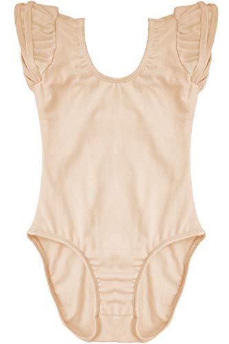 Ruffle Tank Suit - Dancina Girls Leotard Flutter Sleeve Body Suit for Ballet Dance Gymnastics Training 4 Beige