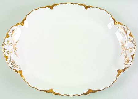 Ranson By Haviland Gold Trim Oval Serving Platter Plate 16 In x 11.5 In ()