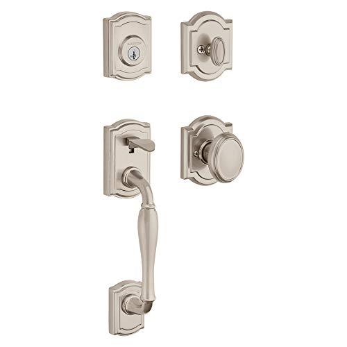 Baldwin Wesley Single Cylinder Front Door Handleset Featuring SmartKey Security in Satin Nickel, Prestige Series with Traditional Door Hardware and Carnaby Knob ()