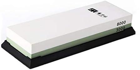 Ququack ホワイトコランダム砥石家庭用両面削りハードストーン、ベースオイルストーンキッチンツールホワイト+グリーン3000#/ 8000#