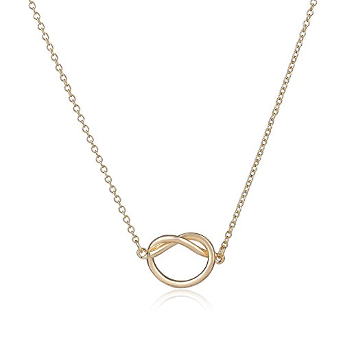 Gold Accent Series (CHUYUN Heart Shaped Love Series Silver Tone Infinity Accent Heart White Pendant Knot Necklace Anniversary Gift Jewelry (gold))
